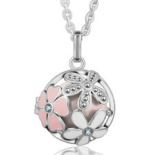 FLOWER Silver Harmony Ball Cage +Pink Mexican Bola +30L Chain Necklace Pendant