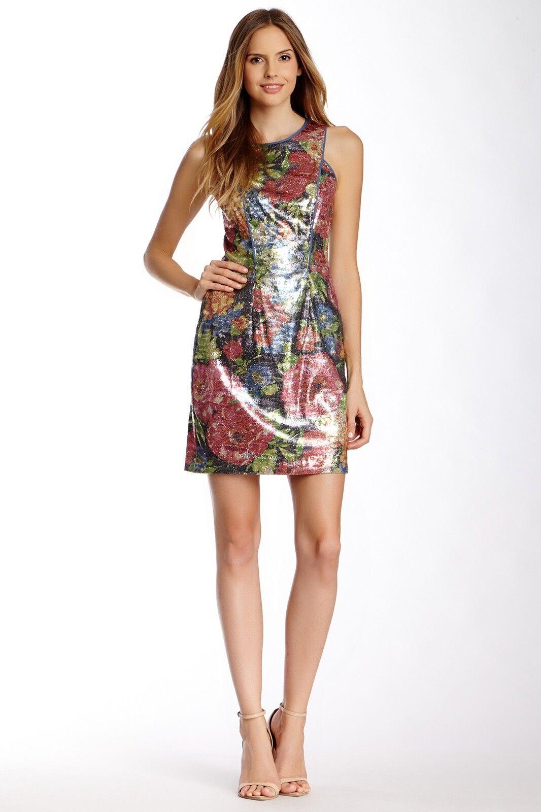 Jessica Simpson Ärmellos Ärmellos Ärmellos Pailletten Kleid Sz 10 Nwt Indigo Multi a1e251