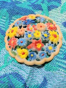 "Celluloid Floral Pin Brooch Vintage Pastel Flower Bouquet Open Work 2"" Round"