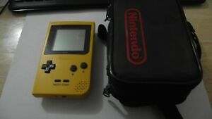 Nintendo-Gameboy-Pocket-Console-Yellow-with-carry-case