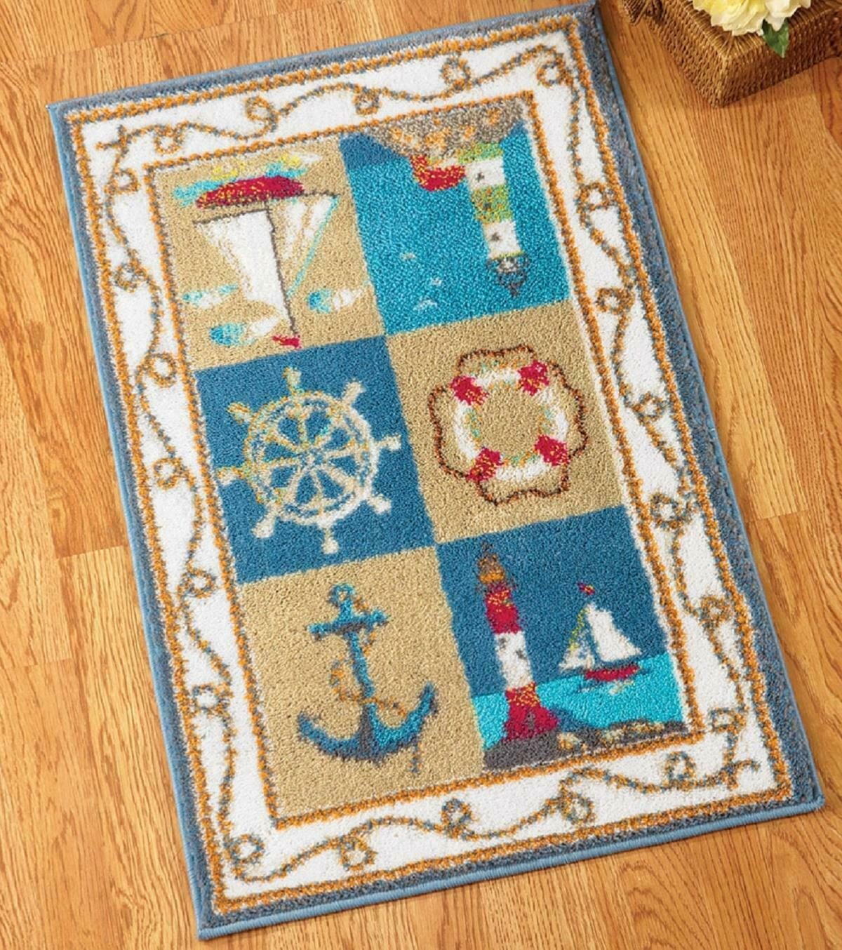 3 Ft Long Nautical Blue Area Rug Bath Mat Lighthouse Sail Boat Anchor Wheel 22 W For Sale Online