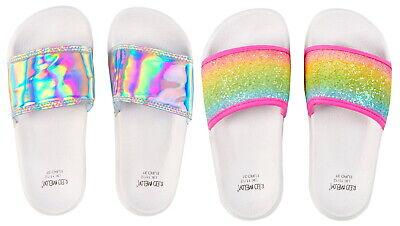 Girls Sliders Flip Flops Holographic Summer Beach Sandals 8-3 UK by Red Melon