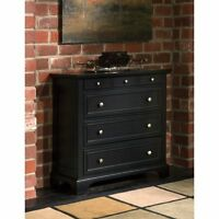 Black 4 Drawer Chest Home Bedroom Living Accent Storage Furniture Classic Style
