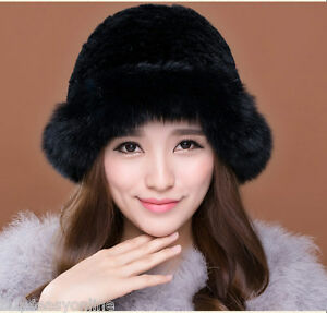 Black Women Winter Hat Real Knit Rex Rabbit Fur Hat with Fox Fur ... 7790550893c