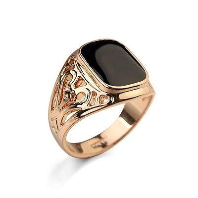 Siegel Ring rhodiniert // emailliert HR0082 College Ring Herren Ring