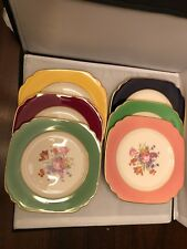 6 all colors Old Ivory Syracuse China Square Salad plates, with gold trim