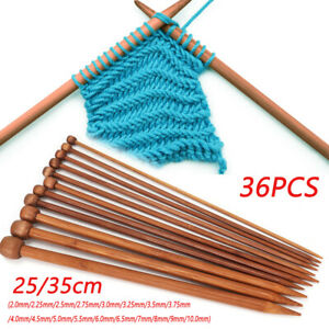 36-X-25-35cm-long-set-of-18-Bamboo-Double-Pointed-Knitting-Needles-Crochet-Hooks