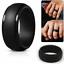 Silicone Wedding Ring Men Black Rubber Band Flexible Comfortable Lifestyle Hot
