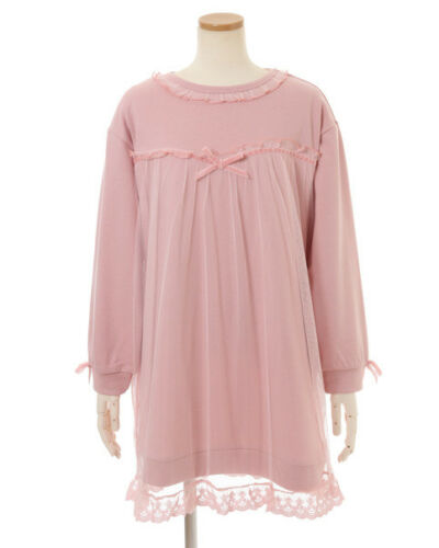 Tulle lace up fleece dress LIZ LISA pink cute kawaii lolita Japan