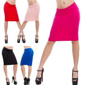 Gonna-donna-ginocchio-longuette-elasticizzata-aderente-tinta-unita-sexy-VB-1500