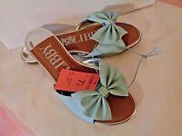 Sam & Libby Harper Bow Slide Sandals Shoes Blue Or Coral Orange/ Pink