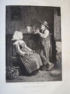J-VEYRASSAT-1828-1893-GRAVURE-SCENE-MUSIQUE-ENFANT-FLUTE-CAMPAGNE-FORTIN-1857