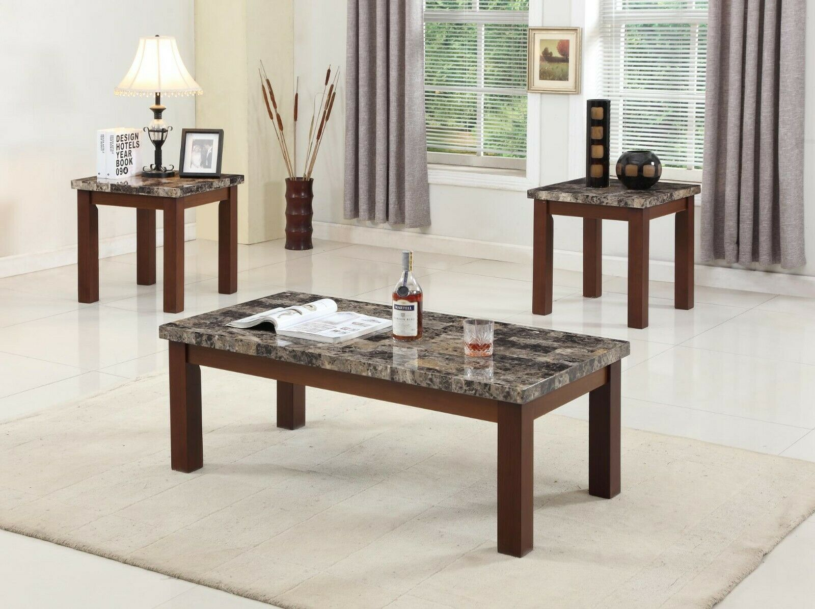 Picture of: Doncaster Faux Marble Top Dark Cherry Modern End Table Coffee Style Console Room For Sale Online Ebay