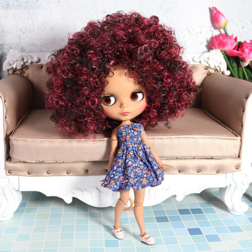 Blythe Nude Doll from Factory Jointed Body Matte Face Wine Red Mix Curly Hair