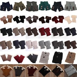 Womens-Winter-Crochet-Knitted-Trim-Leg-Warmers-Cuffs-Toppers-Button-Boot-Socks