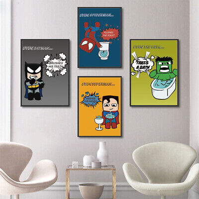 Funny Poster Superhero Read Newspaper In The Toilet Cartoon Art Canvas Painting