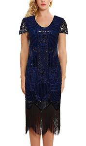 Uniq-Sense-Women-039-s-1920s-Dress-Sequin-Art-Deco-Flapper-Dress-With-Sleeve-XL