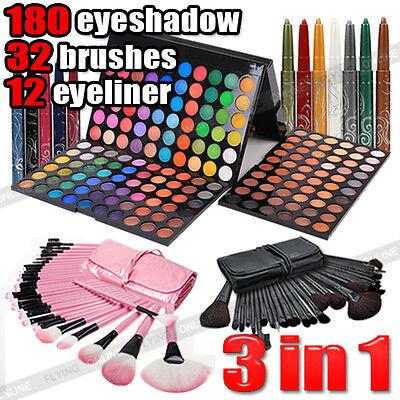 EYE Shadow 180 Color Eyeshadow Palette+32pcs Makeup Brush set +12 Color Eyeliner
