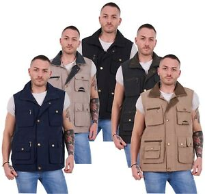 Le-corps-de-hommes-chauds-multi-poche-poids-leger-casual-gilets-gilet-vestes-M-3XL