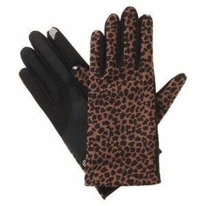 Impressions-By-Isotoner-Dress-Smartouch-Technology-Gloves-Women-039-s-Black-Leopard