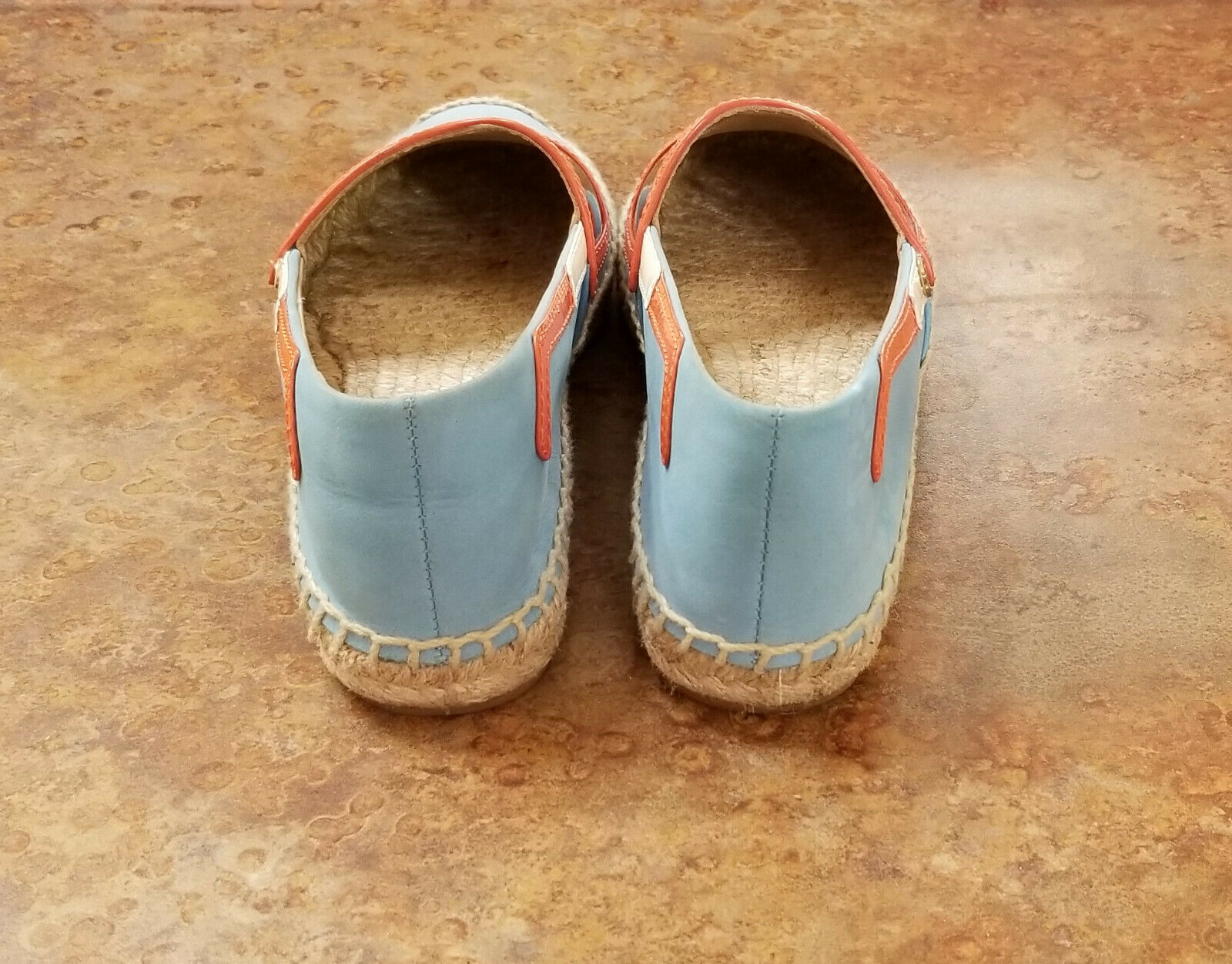 New  Tory Burch 'Sunny' bluee orange orange orange Leather Espadrille Flats 6.5 M MSRP  195 d34cda