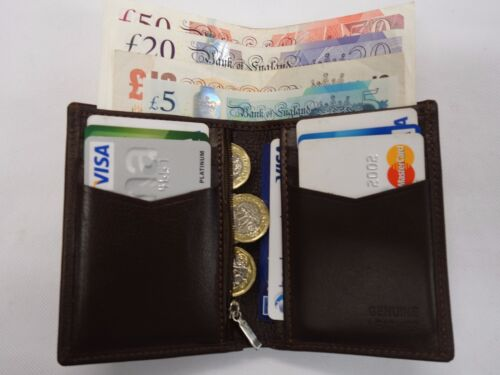 Top Quality Soft Cow Leather Slim Tall Wallet ideal for Back Pocket Brown