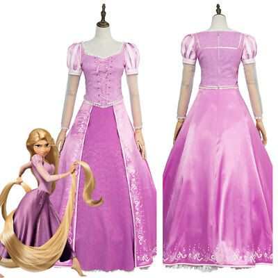 Disney Tangled Princess Rapunzel COSplay Costume Outfit Party Dress Gown Attire