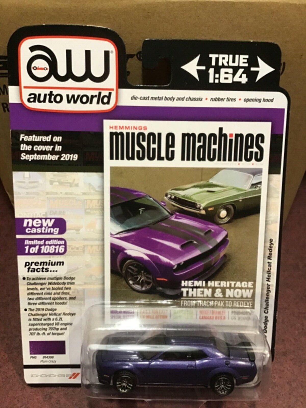 Auto World Hemmings 2019 Dodge Challenger Hellcat Redeye Plum Crazy Ebay