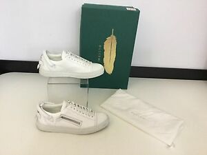 Buscemi-Women-039-s-Shoes-Trainers-Sneakers-Size-Uk-3-Eu-36-White-Leather-Silver-Zip