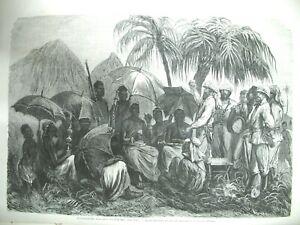 GHANA-ASHANTIS-ANGLAIS-FORGES-USINE-CAIL-VENISE-MAGASIN-PRINTEMPS-GRAVURES-1874
