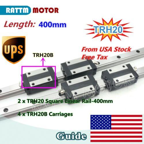 【US Stock】TRH20 Square Linear Guide Rail 400mm for CNC Machine+TRH20B Carriage