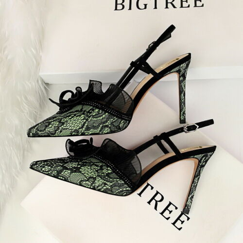 Women Dress Pumps Shoes Slingbacks Pointed Toe Lace Stilettos High Heels Sandals