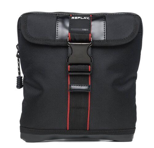 Replay Nylon Crossbody Bag Sac à bandoulière Sac Black Noir Rouge Nouveau