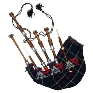 Scottish Great Highland Rose Wood Bagpipe Silver Mount Plain//Gaita tutor book