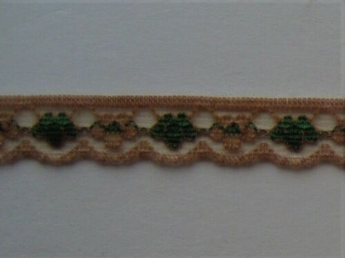 CRAFT-SEWING-LACE 10mtrs x 12mm Brown//Emerald Green Flower Scallop Design