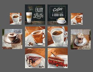 glasbilder deko wand bild deco glass float glas kaffee cafe kuchen ... - Glasbilder Für Küche