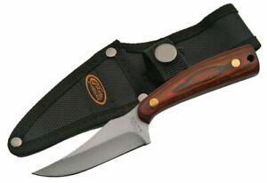"FIXED-BLADE HUNTING KNIFE | 3"" Blade Stainless Full Tang Skinner Wood + Sheath"