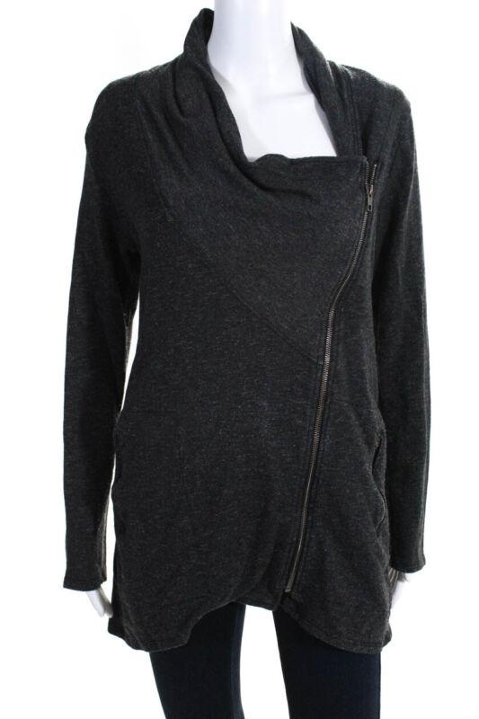 Intelligent Nation Ltd Womens Long Sleeve Asymmetrical Zip Up Basic Jacket Gray Size S