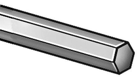 ZORO SELECT 2HJU8 Hex Rod,Stl,12L14,1 1//4 In Hex x 1 Ft L