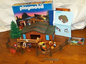 RARE-Playmobil-3805-Snake-River-Ranch-w-Box-Instructions-amp-Poster