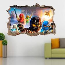 Lego Ninjago Smashed 3D Wall Decal Kids Mural Art Home Decor Vinyl DA104