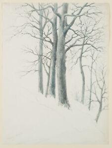 Franzoesisch-19-Jhd-Baeume-im-Winter-Aquarell