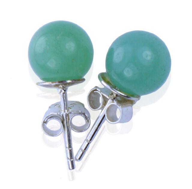cbdf8dbd9 Aventurine Green Ball Studs 8 Mm GEMSTONE Earrings 925er Silver for ...