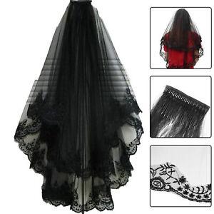 Black-Lace-Veil-Hair-Accessory-2-layers-Halloween-Wedding-Veil-with-Comb-60cm