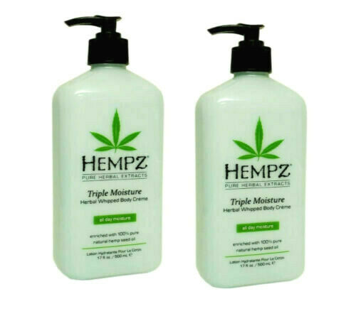 LOT 2 Hempz Triple Moisture Herbal Whipped Body Lotion Creme 17oz