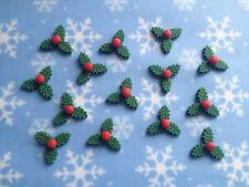 24 Handmade Edible Sugarpaste MINI HOLLY Cupcake Toppers -Christmas - Dark Green