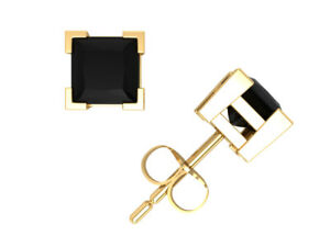 1Ct-Princess-Cut-Black-Diamond-Solitaire-Stud-Earrings-14k-Gold-V-Prong-Set-AA