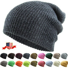 Slouchy Beanie Baggy Fit Winter Knit Ski Hat Skull Cap Oversized Heather