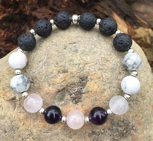 HANDMADE-Lava-stone-essential-oil-diffuser-aromatherapy-bracelet-Quartz-Amethyst