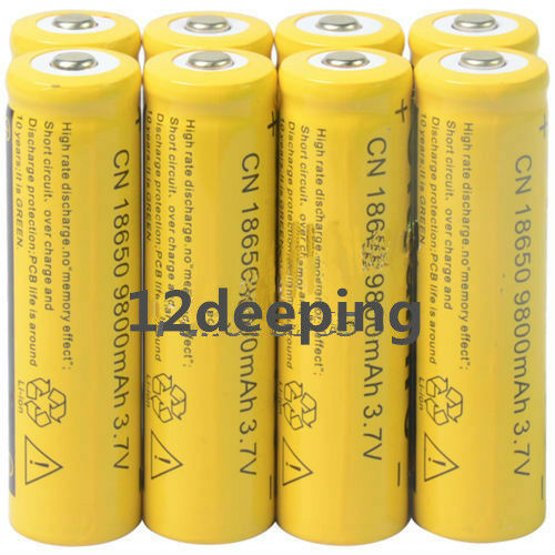 8pcs 18650 3.7V 9800mAh Gelb Li-ion Rechargeable Rechargeable Rechargeable Battery Cell For Torch QS f1ae58
